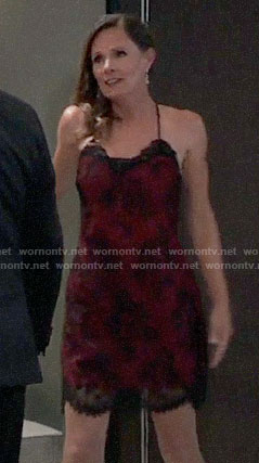 Lucy's red and black lace chemise on General Hospital
