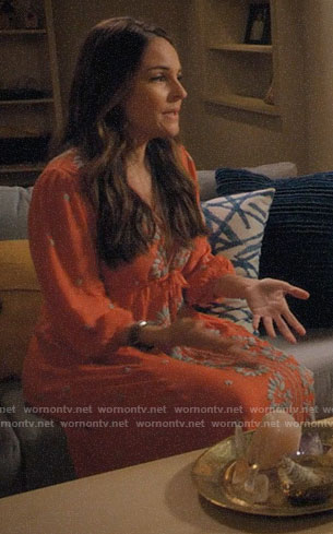 Luisa's orange embroidered midi dress on Jane the Virgin