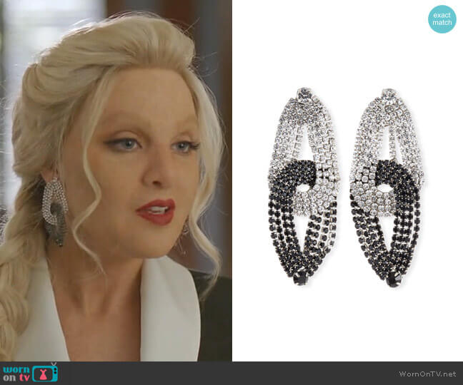 Quixotic Crystal Statement Earrings by Lulu Frost worn by Alexis Carrington (Nicollette Sheridan) on Dynasty