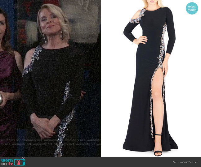 Mac Duggal Bracelet-Sleeve Embellished Jersey Gown with Asymmetrical Slit worn by Felicia Scorpio (Kristina Wagner) on General Hospital