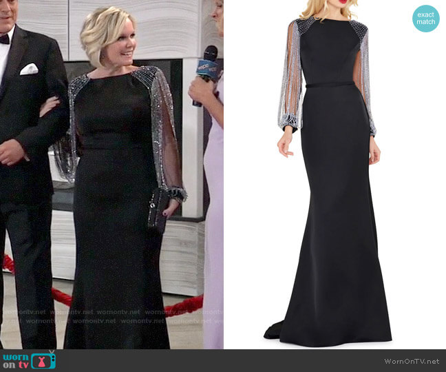 Mac Duggal Chain-Sleeve Column Gown worn by Ava Jerome (Maura West) on General Hospital