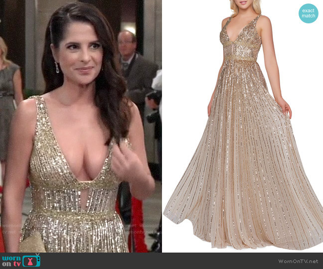 Mac Duggal Horizontal Sequined V-Neck A-Line Gown worn by Sam McCall (Kelly Monaco) on General Hospital