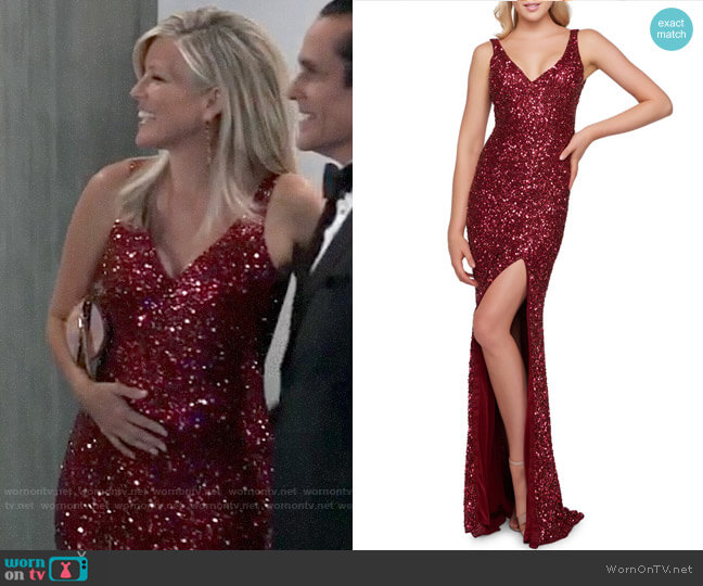 Mac Duggal Sequin V-Neck Sleeveless Gown with Thigh Slit worn by Carly Corinthos (Laura Wright) on General Hospital