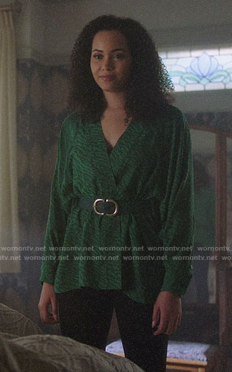 Macy's green wrap blouse on Charmed