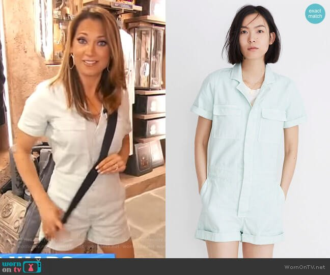 Denim Coverall Romper by Madewell worn by Ginger Zee  on Good Morning America