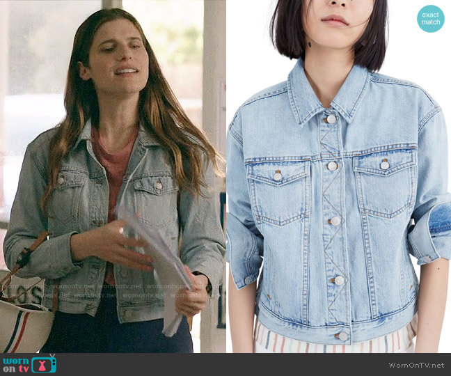 Madewell The Boxy Crop Jean Jacket worn by Rio (Lake Bell) on Bless This Mess