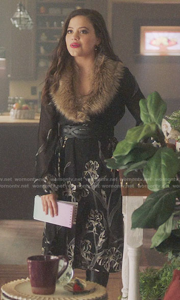 Maggie's black floral dress with fur collar on Charmed