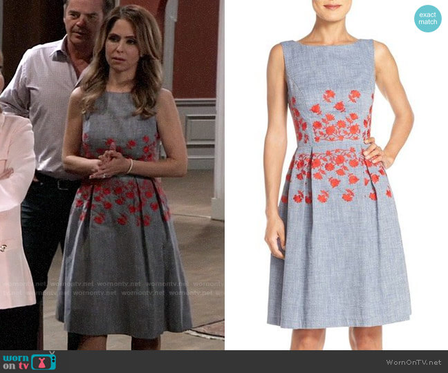 Maggy London Chambray Fit & Flare Dress worn by Olivia Falconeri (Lisa Lo Cicero) on General Hospital