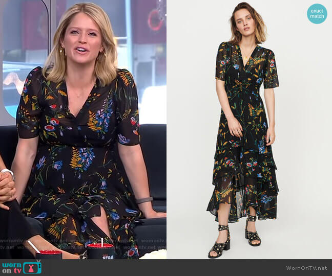 Floral Maxi Dress with Ruffles by Maje worn by Sara Haines  on Good Morning America