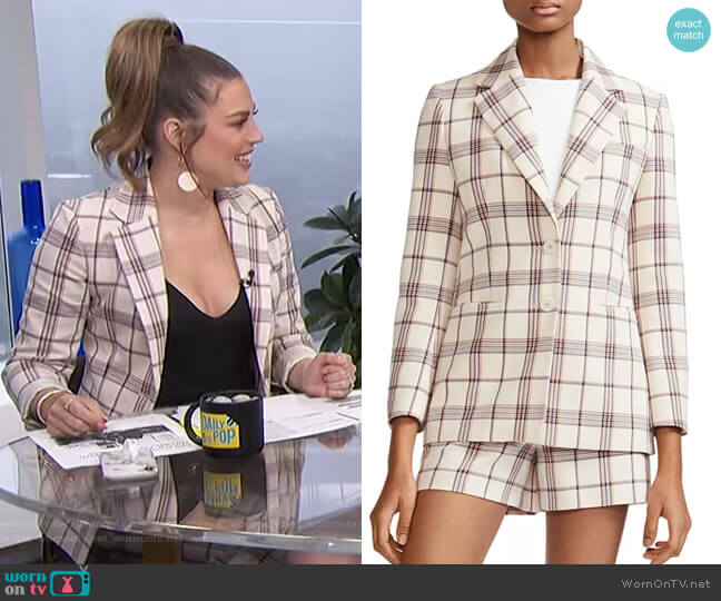 Vanilla Check Blazer by Maje worn by Carissa Loethen Culiner  on E! News
