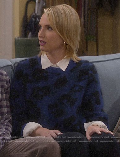 Mandy's blue leopard sweater on Last Man Standing