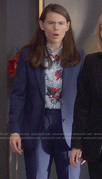 Marjorie's blue geometric and floral print shirt on Veep