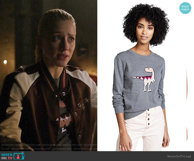Markus Lupfer Tracy Sequin Dino Sweater worn by Betty Cooper (Lili Reinhart) on Riverdale