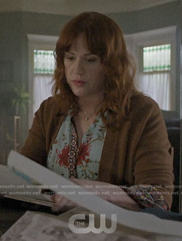 Mary's blue mixed floral blouse on Riverdale