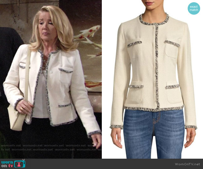 Max Mara Edo Tweed Jacket worn by Nikki Reed Newman (Melody Thomas-Scott) on The Young & the Restless