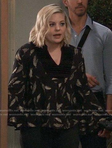Maxie's black and gold feather blouse on General Hospital