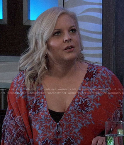 Maxie's red and blue floral top on General Hospital
