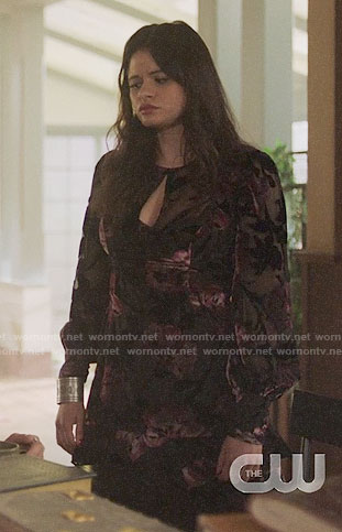 Mel's floral velvet keyhole front dress on Charmed