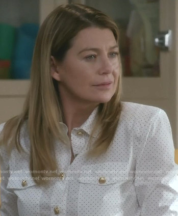 Meredith's white dotted blouse with gold buttons on Grey's Anatomy