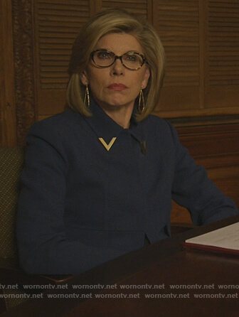 Diane's blue metal detail jacket on The Good Fight