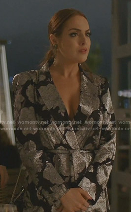 Fallon's metallic floral wrap dress on Dynasty