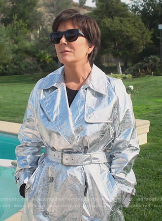 Kim's metallic foil trench coat on Keeping Up with the Kardashians