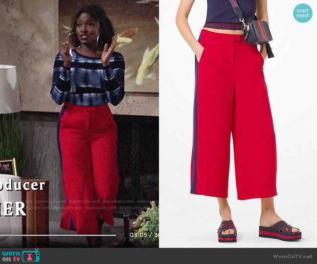 MICHAEL Michael Kors Contrast Stripe Wide-Leg Pants worn by Ana Hamilton (Loren Lott) on The Young & the Restless