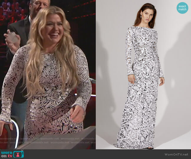 Sequined Tulle Gown by Michael Kors Collection worn by Kelly Clarkson  on The Voice