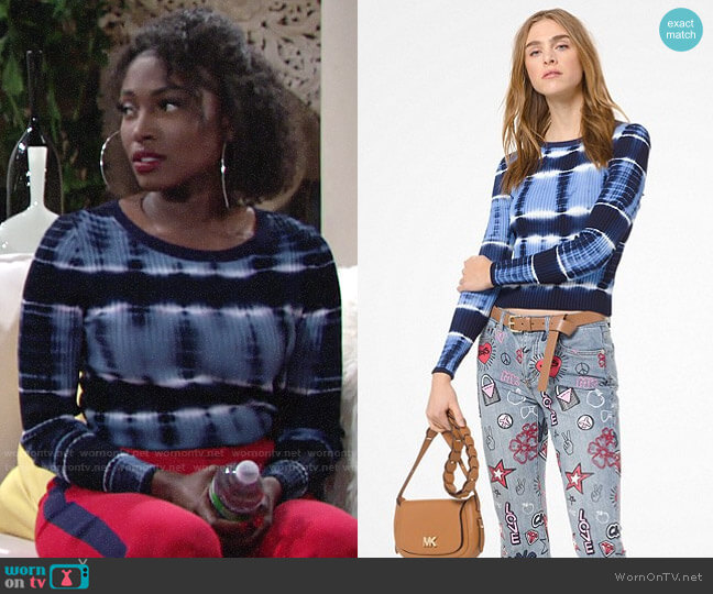 MICHAEL Michael Kors Tie-Dye Stretch-Viscose Sweater worn by Ana Hamilton (Loren Lott) on The Young & the Restless