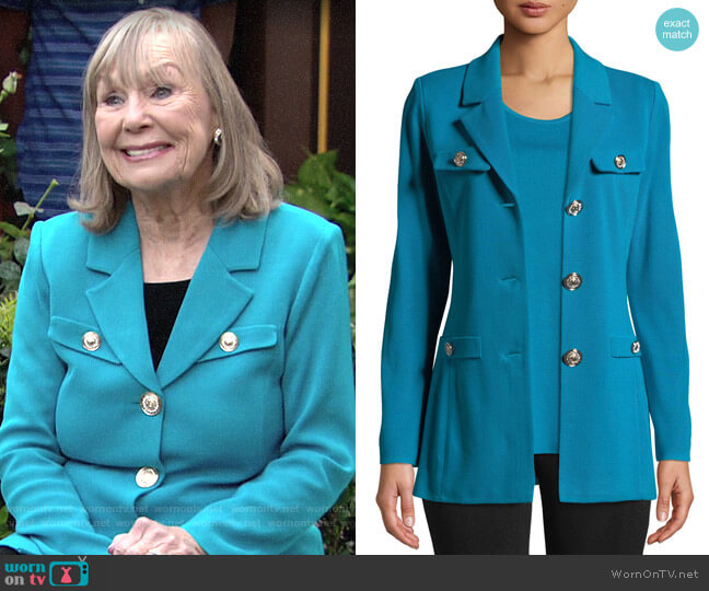 Misook Dressed Up Button-Front Jacket worn by Dina Mergeron (Marla Adams) on The Young & the Restless