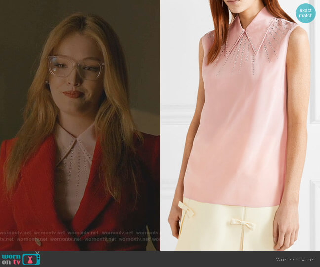 Crystal-Embellished Silk Top by Miu Miu worn by Kirby Anders (Maddison Brown) on Dynasty