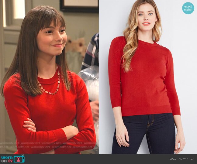 WornOnTV: Molly's Red Button Shoulder Sweater And Polka