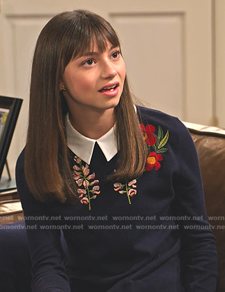 Molly's navy floral embroidered layered sweater on No Good Nick