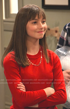 Molly's red button shoulder sweater and polka dot jeans on No Good Nick