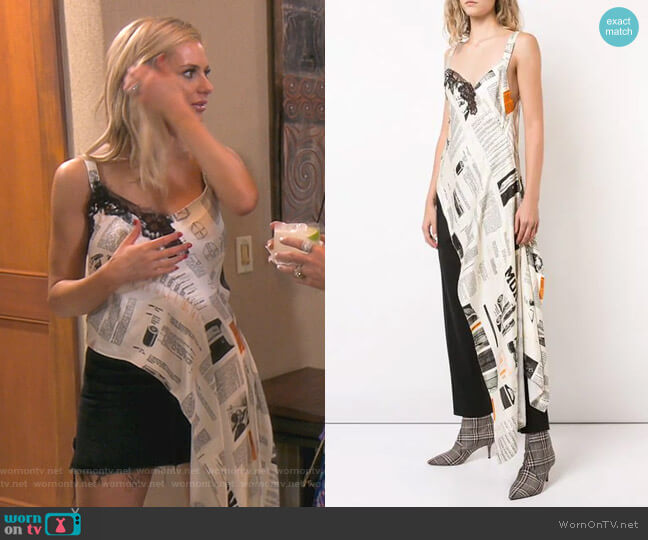 Book Print Asymmetric Tunic by Monse worn by Dorit Kemsley  on The Real Housewives of Beverly Hills