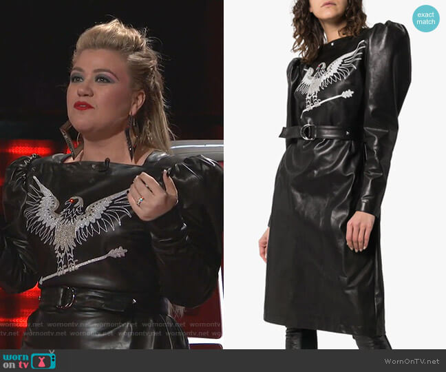 Embroidered Leather Dress by Montana worn by Kelly Clarkson  on The Voice