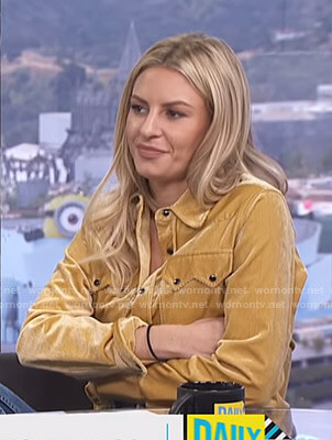 Morgan's yellow corduroy western shirt on E! News Daily Pop