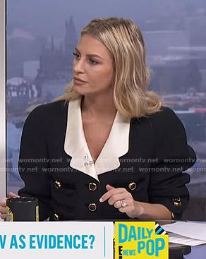Morgan's black contrast-lapel jacket on E! News Daily Pop