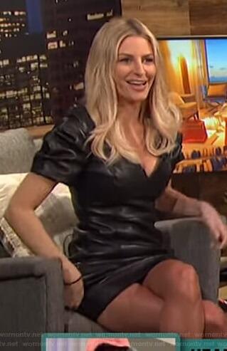 Morgan's leather puff sleeve mini dress on E! News Nightly Pop