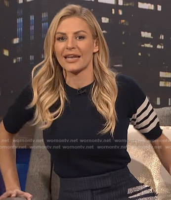 Morgan's navy stripe sleeve sweater and skirt on E! News Nightly Pop