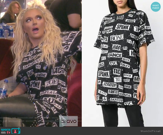 Safety Pin T-shirt by Moschino worn by Erika Girardi  on The Real Housewives of Beverly Hills