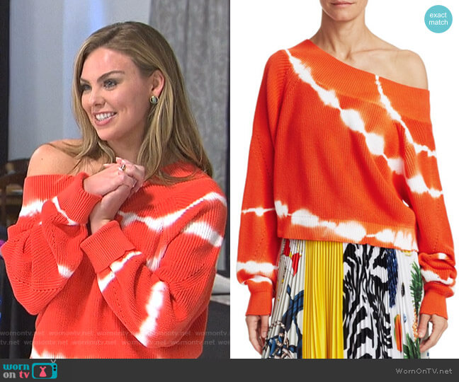 Tie-Dye Off-Shoulder Knit Sweater by MSGM worn by Hannah Brown  on The Bachelorette