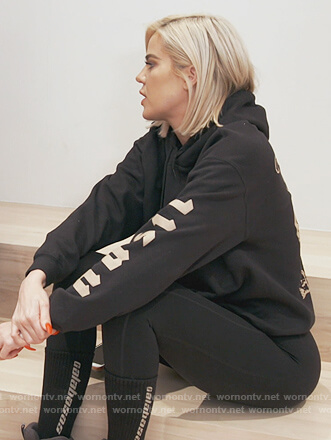 Khloe's black Nas hoodie on Keeping Up with the Kardashians