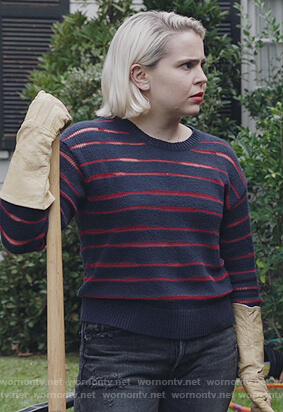 Annie's navy sheer stripe sweater on Good Girls