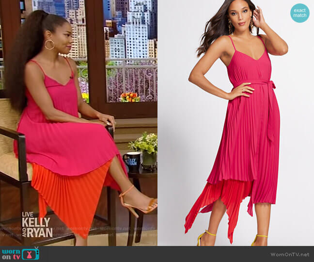Pleated Shift Dress - Gabrielle Union Collection by NY&Co worn by Gabrielle Union on Live with Kelly