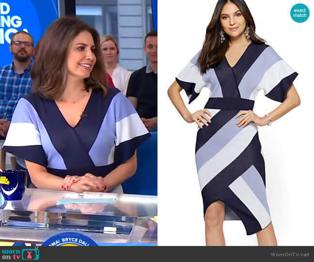 Stripe Wrap Sweater Dress by New York & Company worn by Cecilia Vega  on Good Morning America