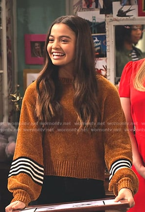 Nick's orange stripe sleeve sweater on No Good Nick