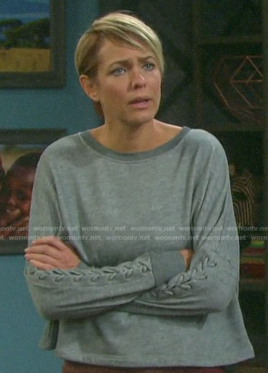 Nicole's grey sweatshirt with lace-up sleeves on Days of our Lives