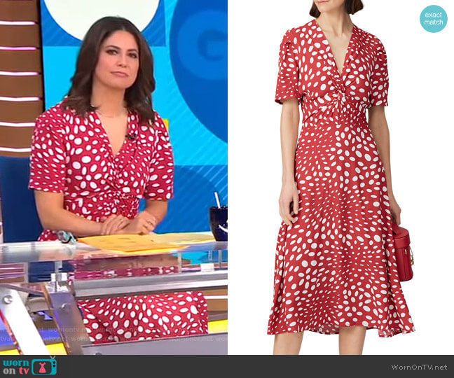 Retro Dots Twist Front Dress by Nicole Miller worn by Cecilia Vega  on Good Morning America