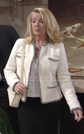 Nikki's white tweed jacket with fringed trim on The Young and the Restless